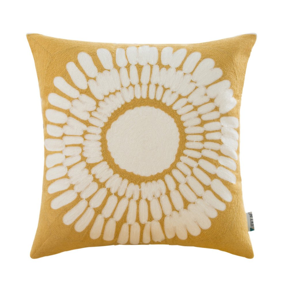 HWY 50 Yellow Pillows Decorative Throw Pillows Covers For Couch Sofa 18×18 inch, One Piece Cotton Embroidery Throw Pillows Cases For bed, European Design Big Sunflower Floral Cushion Covers