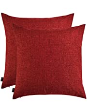Artcest Set of 2 Decorative Burlap Linen Throw Pillow Covers for Sofa Couch and Bed