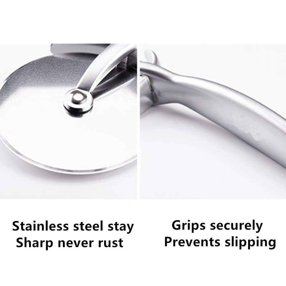 Stainless Steel Pizza Cutter With Round Shape Handheld Pizza Knife Cutter Cake Cut & Slice Thick & Thin Crust Pizza Instantly Super Sharp and Easy to Clean Slicer