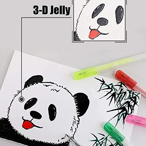 6PCS//set 3D Glossy Jelly Ink Pen Set Brighten up Handwriting Dry Surfaces Clean