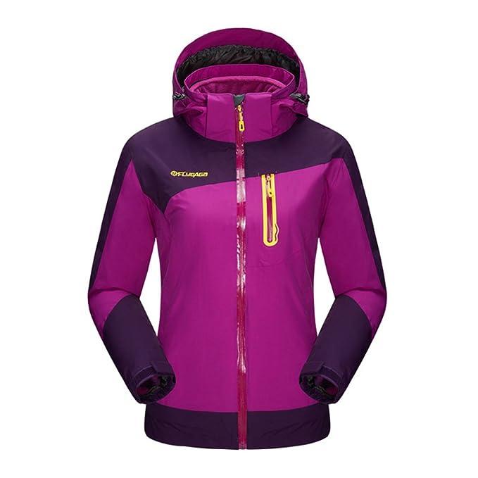 flygaga Mujer 3 en 1 impermeable transpirable cortavientos con capucha abrigo Outdoor Sport camping senderismo con