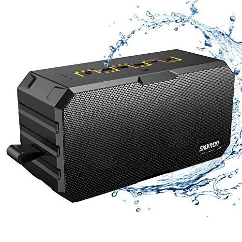 Bluetooth Speakers, Portable Wireless Bluetooth Speakers with Waterproof IP65, Built-in Mic, Dual-Driver, 66-Foot Bluetooth Range Computer Speaker with Enhanced Bass(Black-yellow)