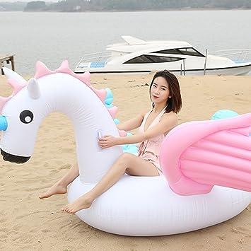 HANMUN Flotador Inflable de la Piscina del Unicornio 2018 Verano Nuevo diseño Material Seguro Anillo de natación clásico para Adultos Mujeres Niños ...