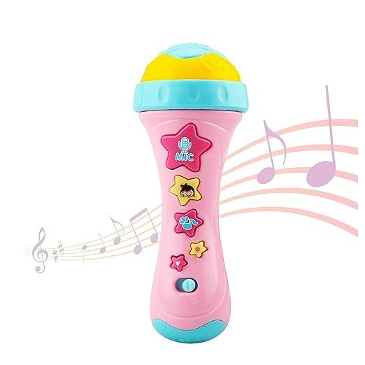 Ellien Micrófono para niños con grabación Larga y Cambio de Voz, Juguetes de Karaoke con música para Cantar para niños y niñas (Amarillo): Amazon.es: ...