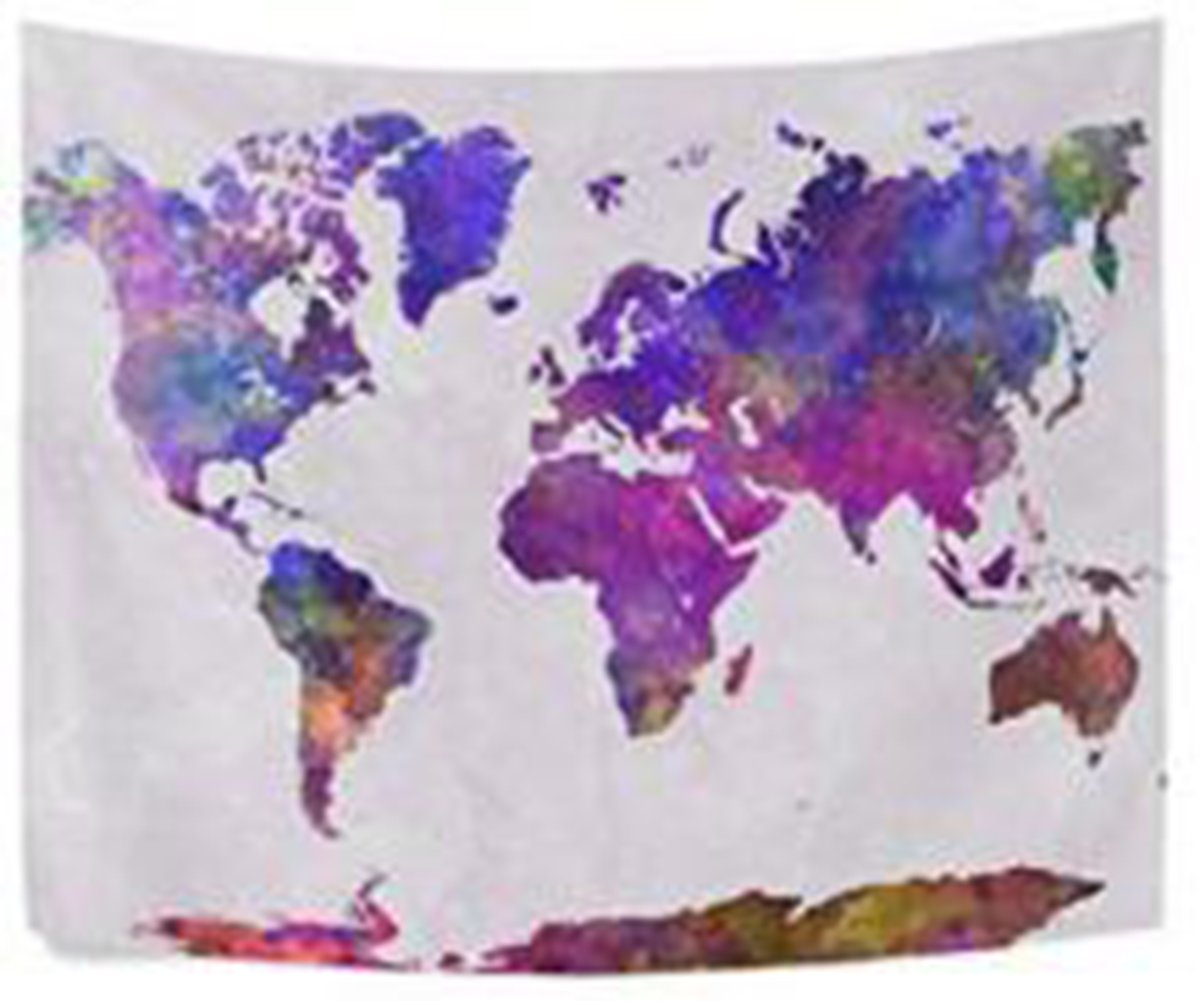 Shukqueen Tapestry,Retro Watercolor World Map Tapestry Colorful Printed Wall Hanging Living Room Bedroom Dorm Home Decor 51H x 60W
