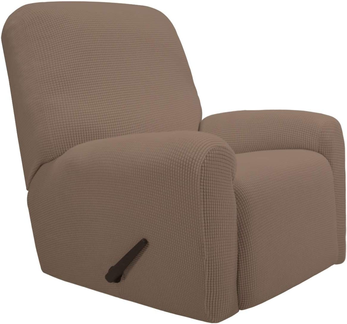 PureFit Stretch Recliner Sofa Slipcover with Pocket – Spandex Jacquard Non Slip Soft Couch Sofa Cover, Washable Furniture Protector with Elastic Bottom for Kids (Recliner, Camel)