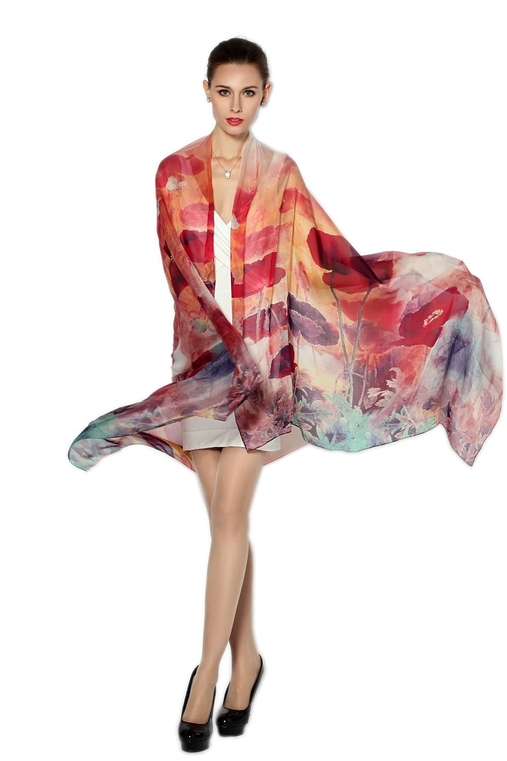 Women Fashion Silk Scarf Oblong Floral Oversize Soft Shawl Beach Wrap (red)