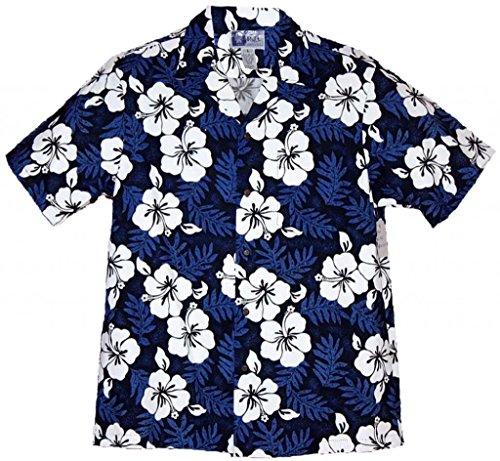 [RJC Brand Tropical Hibiscus Men's Hawaiian Shirt Blue XL] (Hibiscus Blue Aloha Shirt)