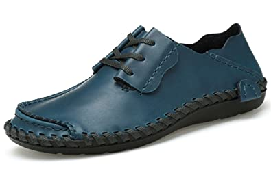 BIFINI Mens Fashion Outdoor Cowhide Driving Moccasins Shoes Blue