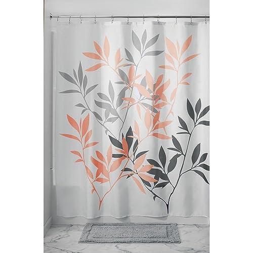 InterDesign 35602 Leaves Fabric Shower Curtain