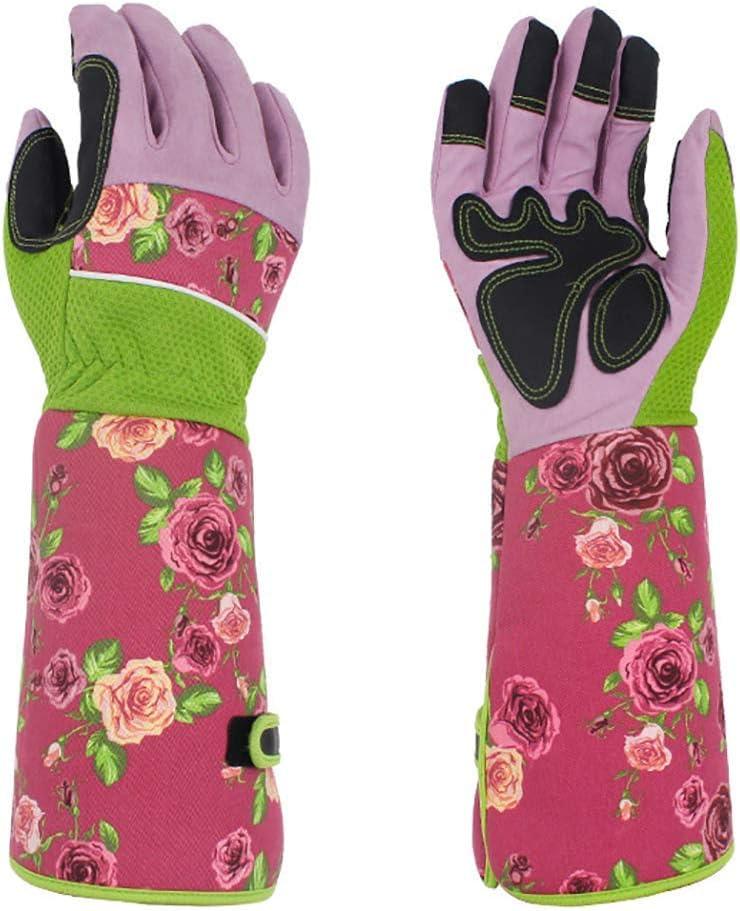 QEES Guantes largos de jardiner/ía a prueba de torceduras 37 cm para proteger sus brazos hasta el codo rosa