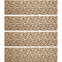 Bungalow Flooring Waterhog Stair Treads, Set of 4, 8-1/2 x 30, Skid Resistant, Easy to Clean, Catches Water and Debris, Dogwood Leaf Collection, Khaki/Camel