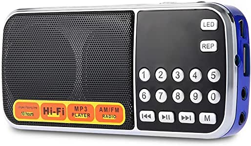 Audio Player Portable AM FM Radio Speaker Music Player with TF Card USB AUX Input,Blue