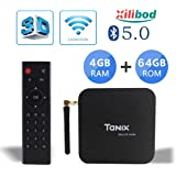Xilibod Tanix TX6 TV Box Android 9.0 4GB RAM/64GB ROM 4K TV Allwinner H6, up to 1.5 GHz, Quad Core Arm Cortex-A53 H.265 Decoding 2.4GHz/5GHz WiFi Smart TV Box
