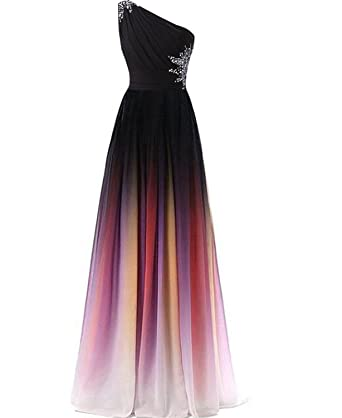 CutieTell One Shoulder Ombre Long Evening Prom Dresses Chiffon Wedding Party Gowns Picture US2