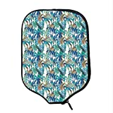 YOLIYANA Palm Leaf Durable Racket Cover,Tropical Summer Print with Palm Abstract Nature Pattern Fantasy Dream Decorative for Sandbeach,One Size