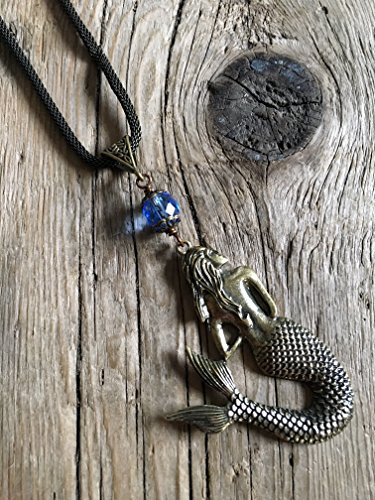 Cast Brass Medallion Necklace - Mermaid - Vintage - Faceted Sapphire Bead - 18