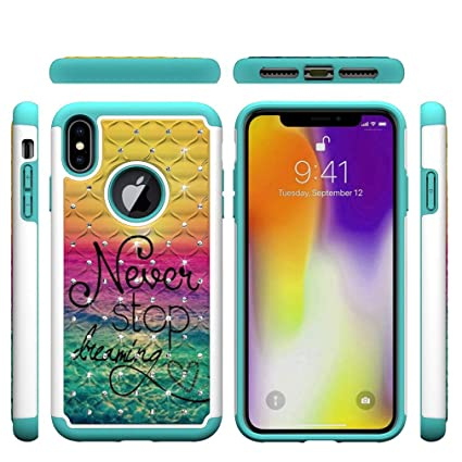 Iphone Xs Max Case Slim 2 In 1 Hybrid Case Back Cover Hard Pc With Colorful Pattern Point Drill Inner Soft Tpu Bumper Anti Scratch Case Compatible