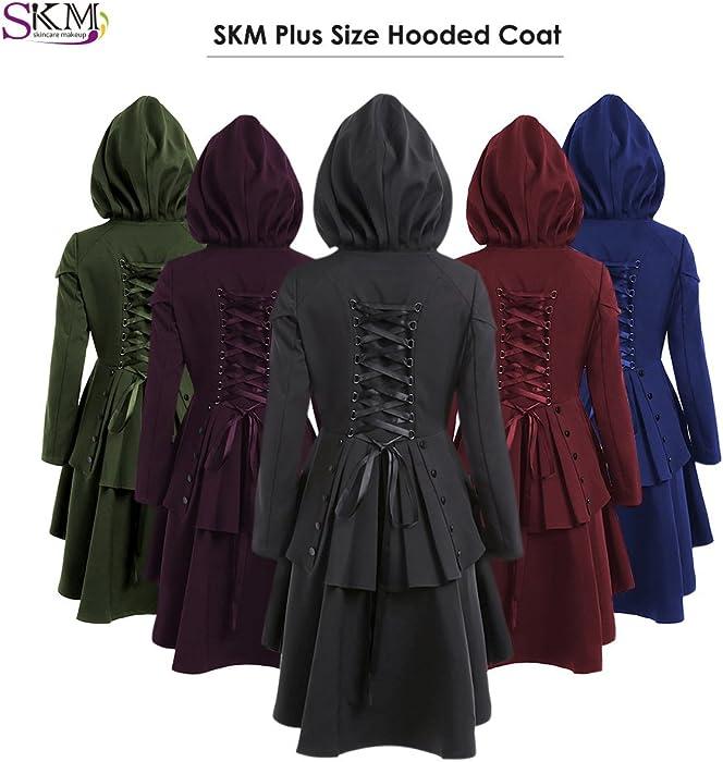 c38ea14a2ec08 ... SKM Women s Plus Size Coats Dress Long Sleeve Layered Lace Up Back High  Low Hem Hoodies ...