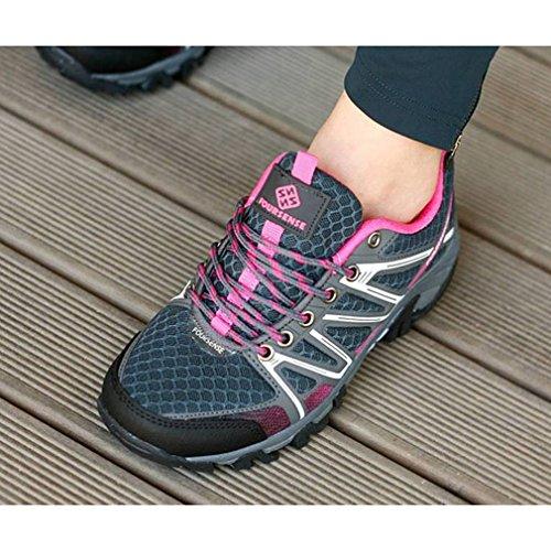Epicstep Mujeres Athletic Sports Senderismo Al Aire Libre Trekking Walking Trail Montañismo Zapatillas Zapatos Rosa Gris