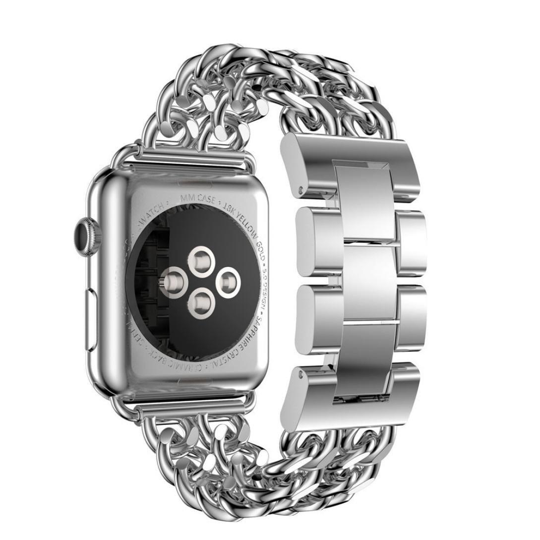 For Apple Watchシリーズ1 / 2 42 mm、oksaleステンレススチールチェーンブレスレットスマート腕時計交換用ストラップバンドwith knock-downバックル B01N1NFV2U  シルバー