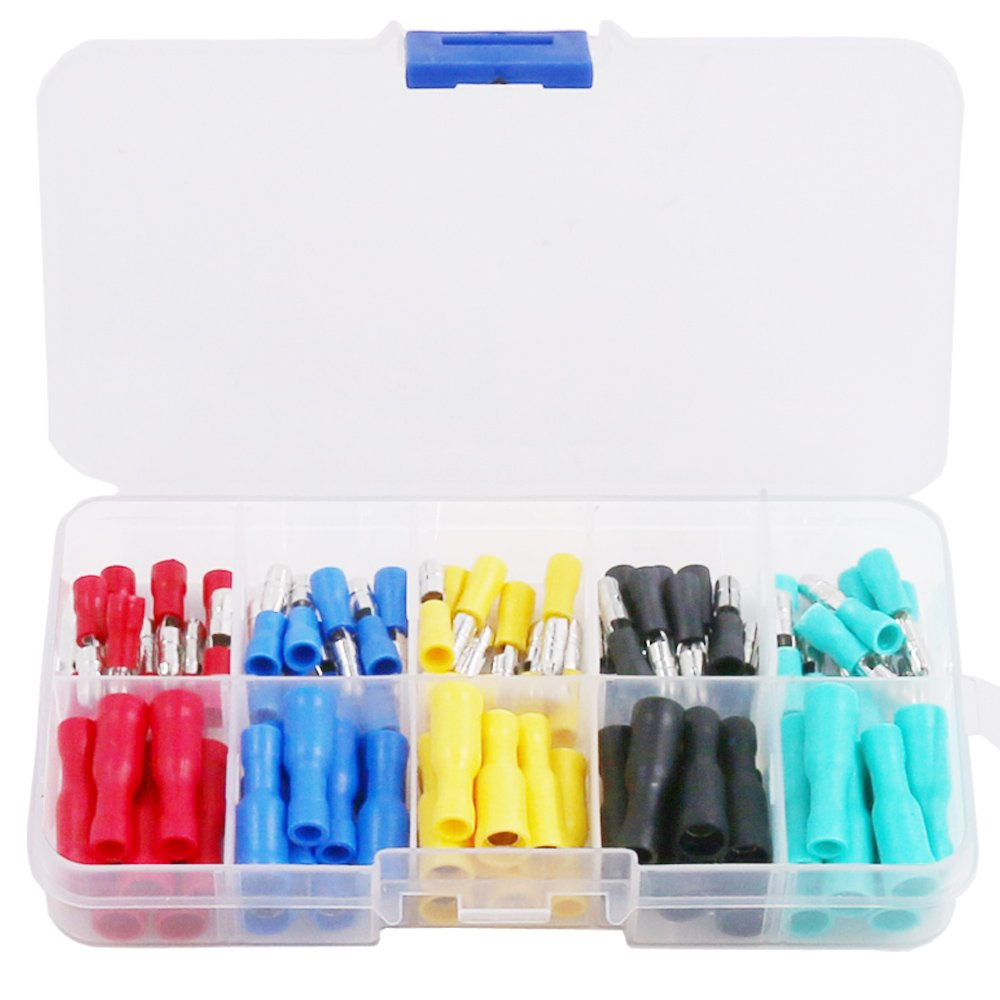 Hilitchi 100-Pcs 22-16 AWG Assorted Insulated Female /& Male Bullet Butt Wire Crimp Connector Terminals Assortment Kit