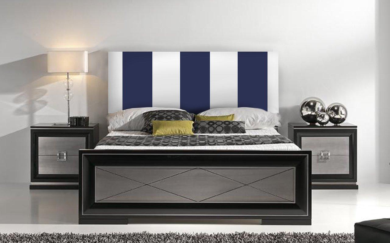 Suenoszzz–Testiera per Letto, Mod. Ohio, con Righe Verticali, Dimensione: 100 cm x 57 cm - Colore: Bianco e Argento 100x57 (Camas de 90 Cms - Cabecero para colgar) bianco/ blu