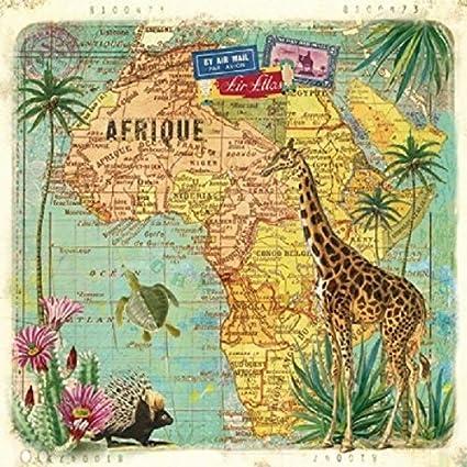 Serviettes en papier Afrique Marrakech Decoupage Paper Napkins Africa Marrakesh