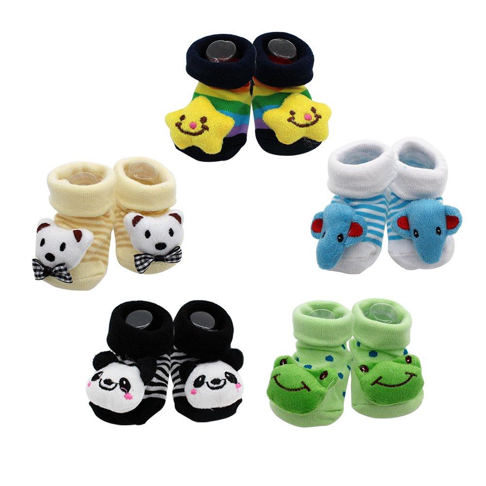 Estwell 5 Pack Assorted Non Skid Cartoon Animal Toddler Socks Funny Cotton Baby Socks