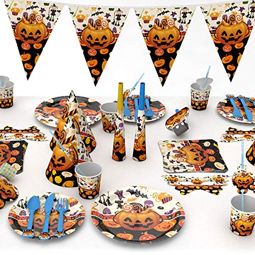 DecorFav Cartoon Pumpkin Halloween Party Disposable Tableware Plate Napkins Banner Birthday Snack Candy Box Baby Shower Supplies D4]()