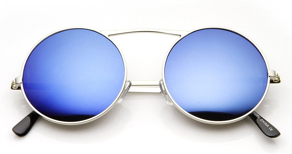 Small Light Gold Metal Frame Full Mirror Lens Sunglasses Blue