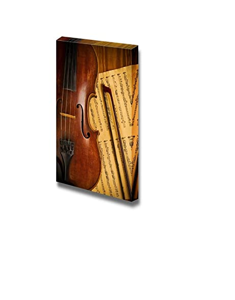 Amazon.com: Canvas Prints Wall Art - Old Used Violin and Note Close ...