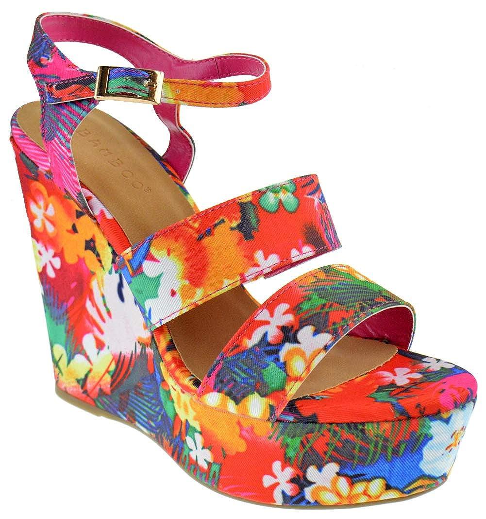 Fuchsia Bamboo Charade 24 M Womens Fabric Lace Wedge Platform Sandals