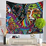 Psychedelic Tapestry ,Abstract Unusual Figure with Color and Form Details Hippie Arabesque Retro Pattern, Wall Hanging for Bedroom Living Room Dorm(CS-BS12-6)