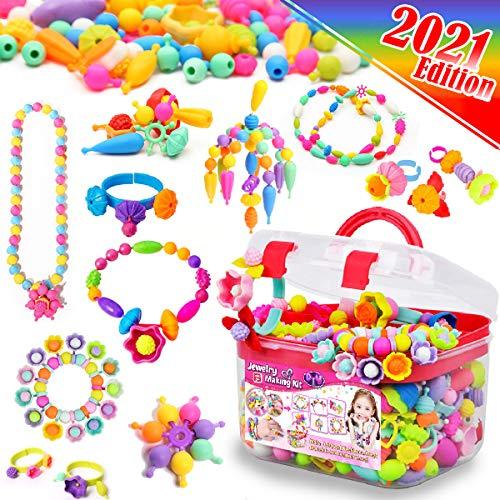 FunzBo Kids Jewelry Making Kit for Girls Toys – Snap Pop Beads Pop-Bead Art and Craft Kits DIY Bracelets Necklace…