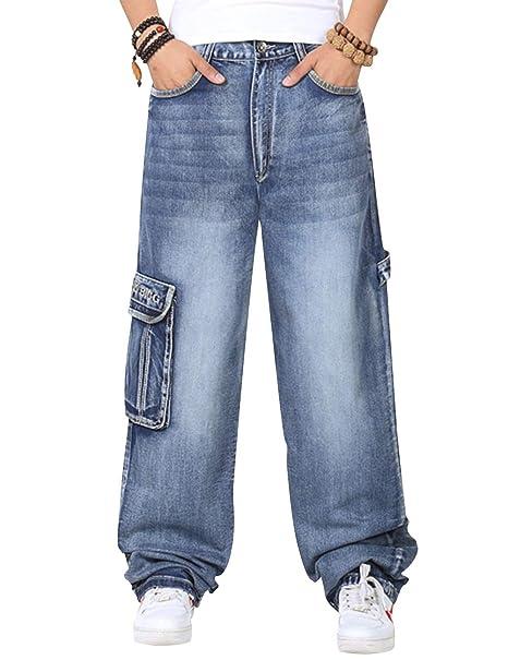 Amazon.com: SUNFURA - Pantalones vaqueros para hombre con ...