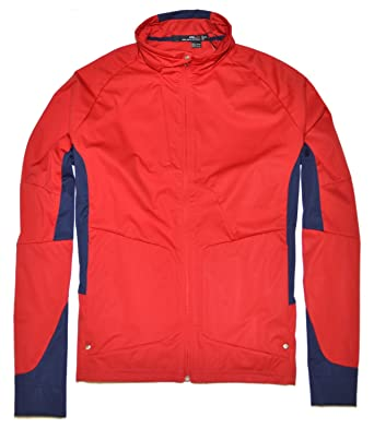 466dbad464 Polo Ralph Lauren RLX Mens Full Zip Athletic Running Jacket Red Navy ...