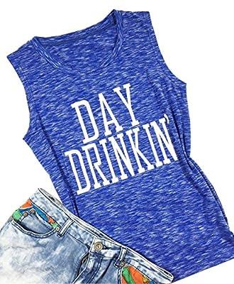 LONBANSTR Women Day Drinkin' Cami Shirts Tank Tops Drinking Funny Casual Shirt Tee