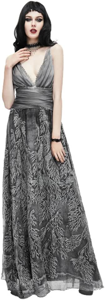 Gothic Gray Sexy Deep V Backless Women Long Dress Punk