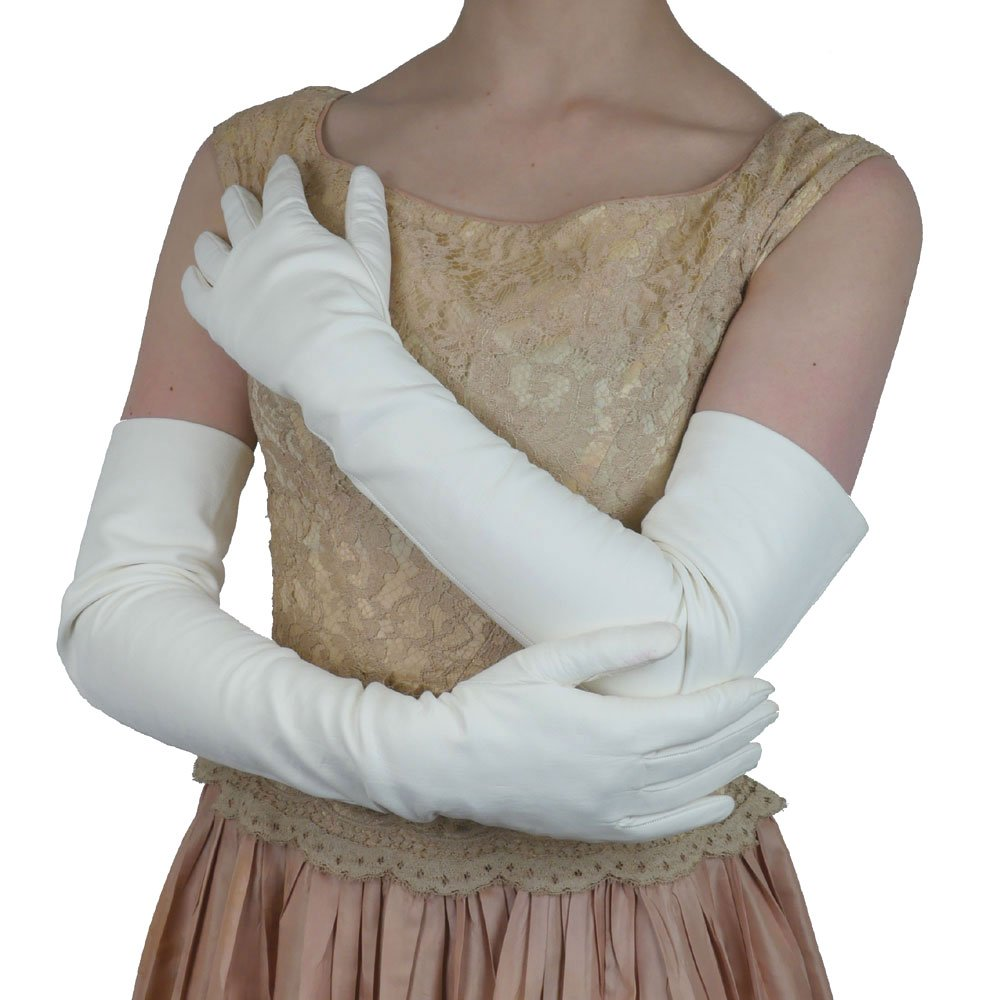 Opera Length Italian Leather Gloves. Lined in Silk. 16bt. By Solo Classe (M, White)