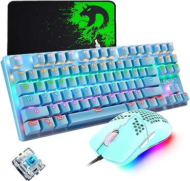 Teclado mecánico para juegos, mouse de juego ultraligero programable 6400DPI, juego de almohadillas para ratones, teclado azul con cable 87 teclas, ...