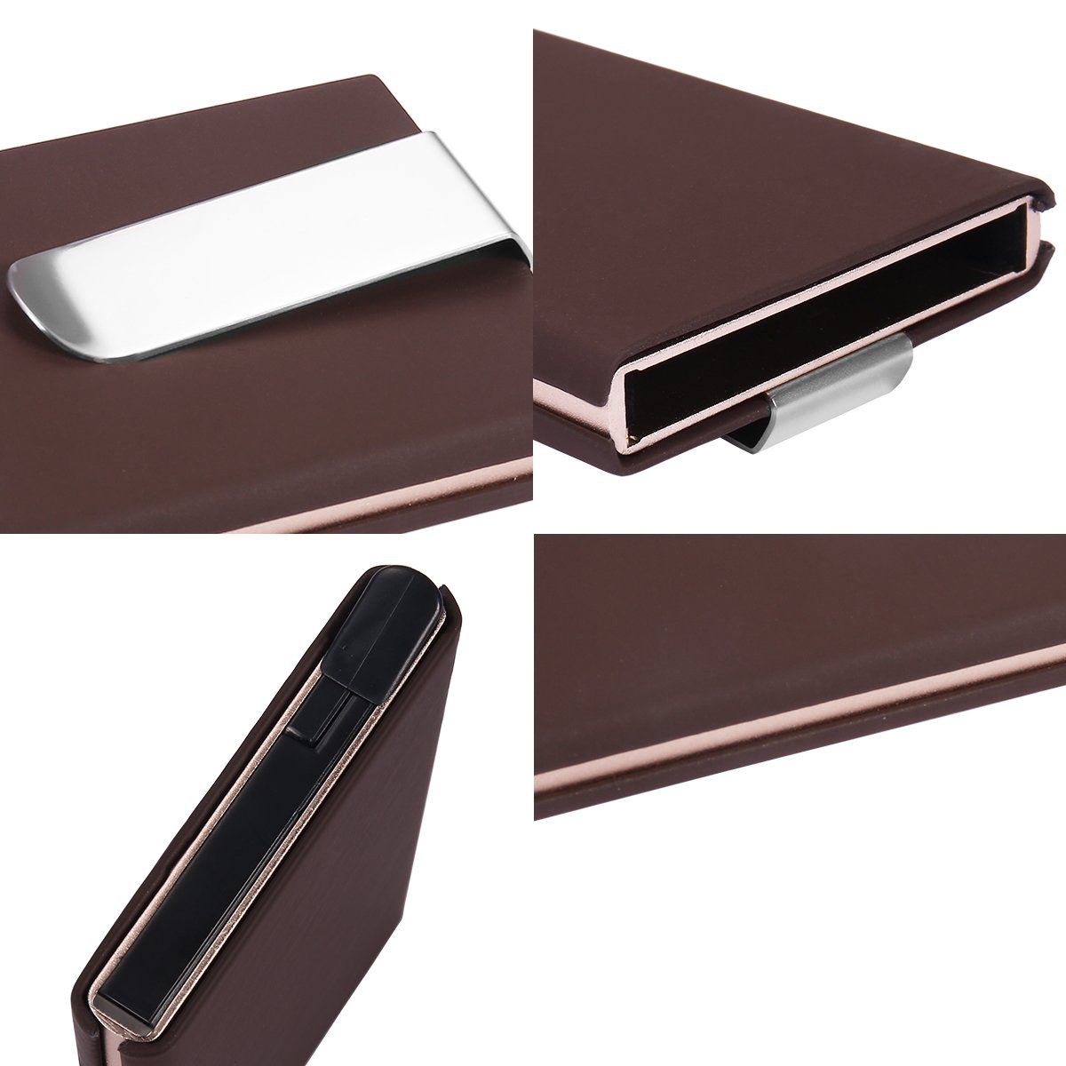 Amazon.com: Men Metal Aluminum Slim Cash Credit Card Holder Wallet Anti-RFID Anti-NFC Money Clip (Brown): Clothing