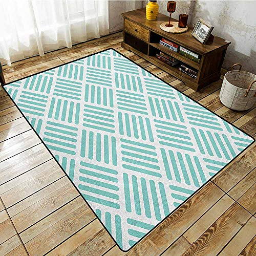 - Outdoor Patio Rug,Aqua,Diagonal Parallel Lines in Different Directions Retro Modern Style Geometrical,Anti-Slip Doormat Footpad Machine Washable,4'7