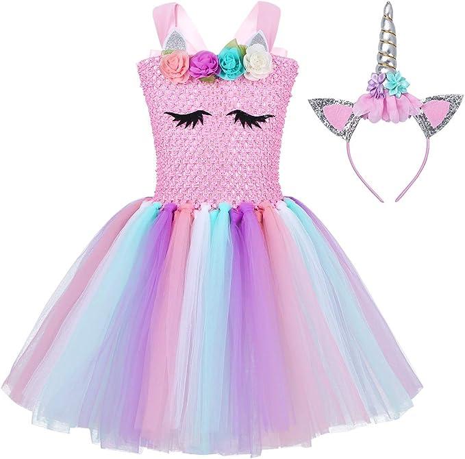 iiniim Vestido Niña Princesa con Diadema Vestido Flor Unicornio ...