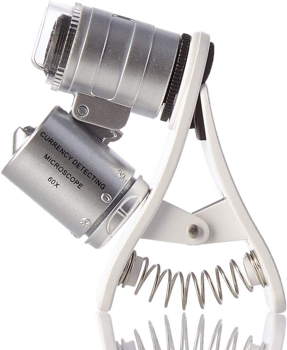 KUYiA Microscopio de Bolsillo, 60x LED Clip-Type Mini Microscope para Teléfono Móvil, Portátil Joyeria Lupa HD Magnifier Micro Lente UV Detector de Divisas Compatible con iPhone, Samsung – Plata