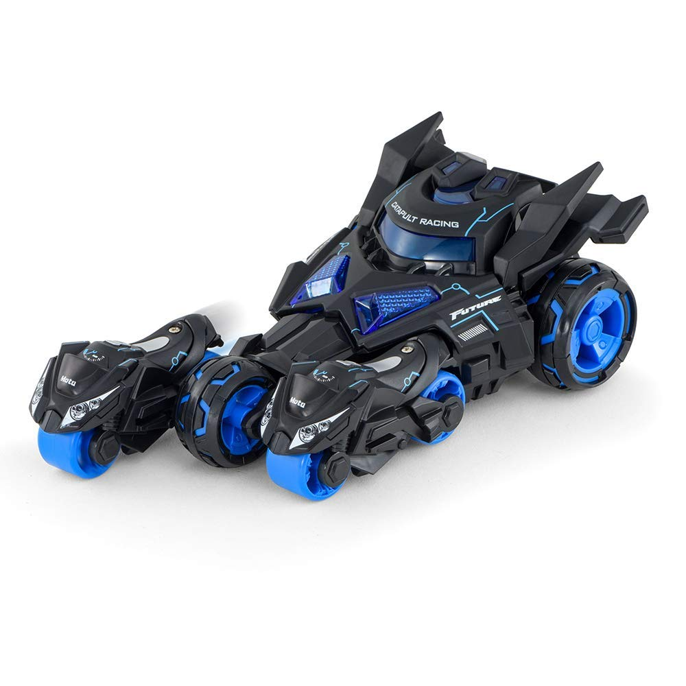 Die Casting Pull Back Racing Car Launcher Toys-Two Catapult Motorcycles with LED Lights and Sounds-Great Gift for Kids Blue Color
