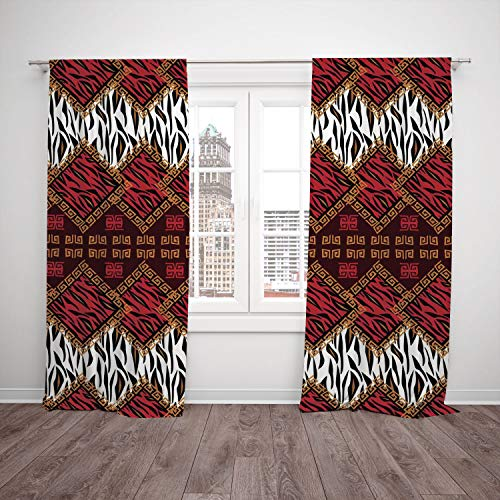 2 Panel Set Thermal Insulated Blackout Window Curtain,Safari Decor African Style Wild Animal Skin Stylized Stripes in Diamond Pattern Tribal Artwork Red Brown,for Bedroom Living Room Dorm Kitchen Cafe (Diamond Brown Cafe Diamond)