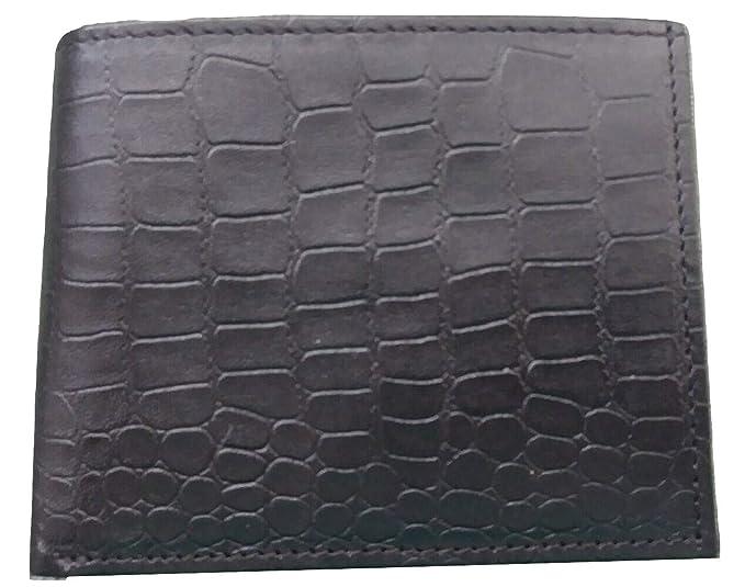 Men/'s Crocodile Pattern RFID BLOCKING Black Brown GENUINE LEATHER Trifold WALLET