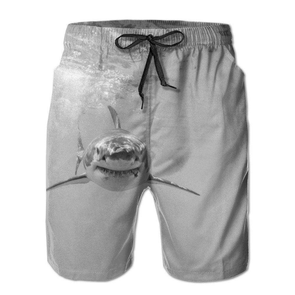 Great White Sharks Newest Men's Workout&swim Trunks Quick Dry Board Shorts With Pockets And Drawstring Summer