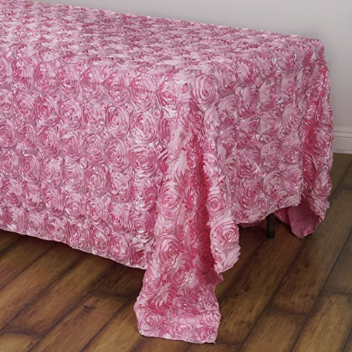 BalsaCircle 90x132 Pink Satin Raised Rosettes Rectangle Tablecloth Wedding Party Dining Room Table Linens ()